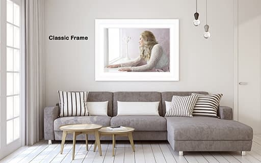 Classic-White-Frame in a living room