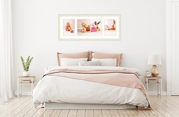 Three across large classic frame in a boudoir room set